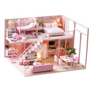 DIY ドール ハウス 手作りキット ピンクハウス ベッドルーム 家具セット 1/24スケール 木製
