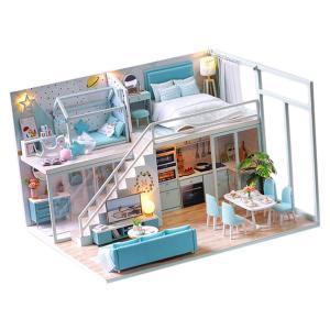 DIY ドールハウス キット ベッドルーム ベッドルーム 家具 LEDライト 部品模型 情景コレクシ...