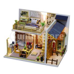 ドールハウスキット 未完成モデル 家具モデル付き  1:24スケール 木製 DIY 和風