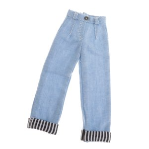 Fashion Doll Straight Cuffed Jeans Pants for Blyth...