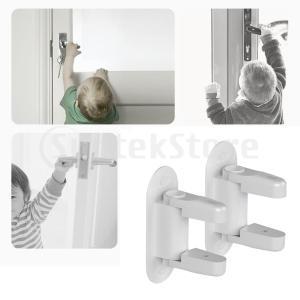 2本のドアレバーロックチャイルドドアハンドルロックアンチオープンベビーセーフティロック|stk-shop