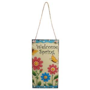 説明:最適な装飾やイースター祭りやパーティーのための方向性兆候である片面に印刷歓迎春の手紙や花の絵と...
