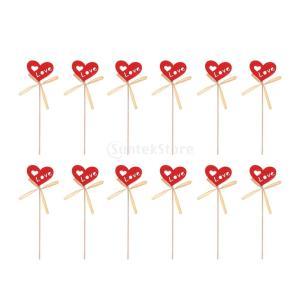 ホーム パーティー デコレーション ロマンチックな 赤い 木 草 インテリア 心 愛する 12本