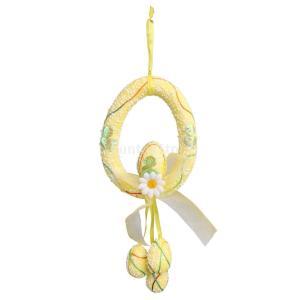 フォーム イースターエッグ 花 イースター 壁飾り ドアアクセサリー 花輪 春の装飾 全4色 - 黄|stk-shop