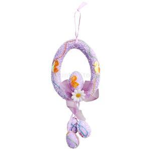 フォーム イースターエッグ 花 イースター 壁飾り ドアアクセサリー 花輪 春の装飾 全4色 - 紫|stk-shop