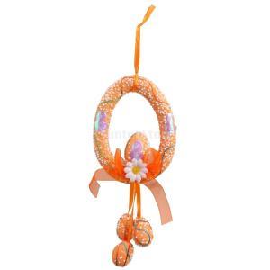 フォーム イースターエッグ 花 イースター 壁飾り ドアアクセサリー 花輪 春の装飾 全4色 - オレンジ|stk-shop