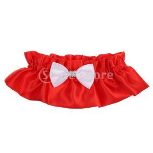 結婚式 プロム ブライダル 赤 な ラインストーン 弓のレース 小物 好意 ガーター  stk-shop