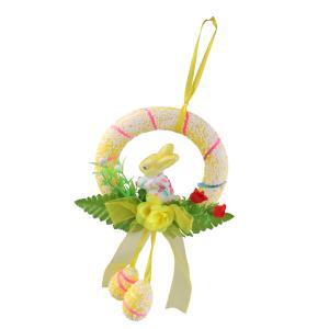 インテリア ハンギング ドア 壁飾り 装飾 花輪 ガーランド イースター バニー 花 春 全4色 - 黄|stk-shop