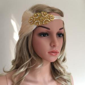 ヘッドバンド ブライドアクセサリー 髪飾り ラインストーン フラッパー 羽付き 1920年代 ビンテージ 全11タイプ - #10|stk-shop
