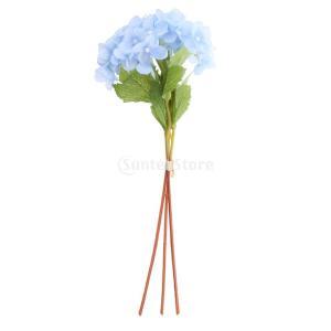 ノーブランド品 人工紫陽花 花束 造花 家 結婚式 パーティ 装飾 全7色 - 青 stk-shop
