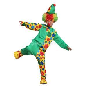 ポルカドットサーカス ピエロ ドレス 衣装 ジャンプスーツ ハット 子供 ハロウィーン カーニバル ...
