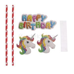 Lovoski 可愛い ユニコーンスタイル 子供誕生日パーティー 宴会 用 デコレーション 道具+使い捨て食器+子供玩具 全19種類選べる - ケーキフラグ stk-shop
