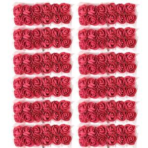 Kesoto 約144個 ミニチュアローズ フラワー 人工小型泡 花 造花 結婚式 花束 DIY 工芸品 装飾 バラ 多色選べる - ブルゴーニュ|stk-shop