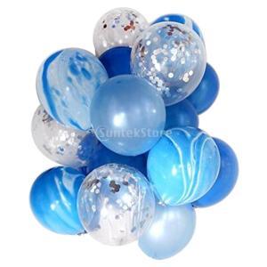 約20個 風船 バルーン 紙吹雪バルーンセット 誕生日 結婚式 飾り付け 3色選べる - 青