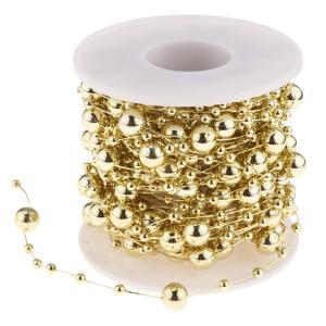 B Blesiya ビーズロール ストリング 人工真珠 ビーズチェーン DIY パーティー 装飾 2色選べ - ゴールド|stk-shop