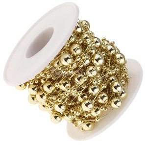 B Blesiya ビーズロール ストリング 人工真珠 ビーズチェーン DIY パーティー 装飾 2色選べ - ゴールド|stk-shop|02