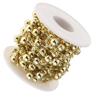B Blesiya ビーズロール ストリング 人工真珠 ビーズチェーン DIY パーティー 装飾 2色選べ - ゴールド|stk-shop|11