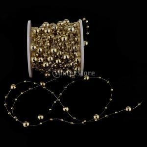 B Blesiya ビーズロール ストリング 人工真珠 ビーズチェーン DIY パーティー 装飾 2色選べ - ゴールド|stk-shop|05