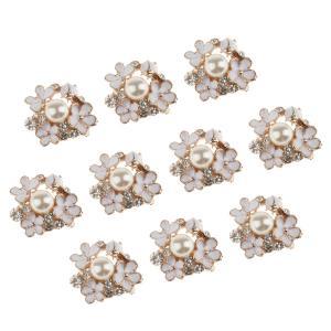送料無料 10個入りセット 花タイプ  DIY  洋服  飾り 人工真珠 ラインストーン 装飾ボタン 縫製ボタン おしゃれ|stk-shop