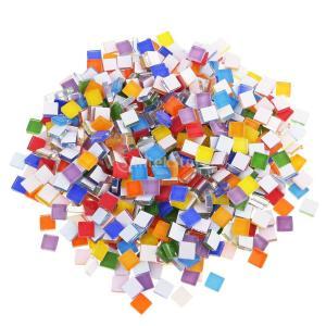 約390個入り DIY 工芸品用 芸術 創作 四角い ガラス モザイクタイル|stk-shop