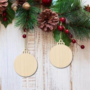 Perfk 可愛い 木製 丸い 木片 クリスマス 装飾 吊り 飾り 5枚セット