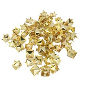Sharplace 約100個 ピラミッド スタッド リベット スポット 服 縫製 DIY 装飾 全2色 - ゴールド|stk-shop