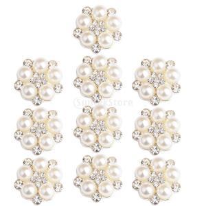 10個 手芸 工芸 装飾 パーツ ボタン フラワーのデザイン 結婚式のアクセサリー 全5様式選ぶ - 様式3|stk-shop