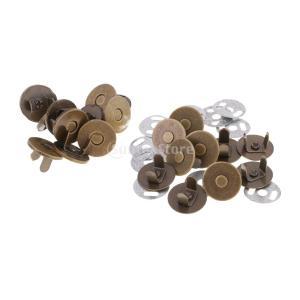 10セット全4種選べ 超薄タイプ 磁気ボタン マグネットホック 差し込みタイプ クラスプスナップ 縫製工芸品 14~18mm - ブロンズ, 14mm|stk-shop