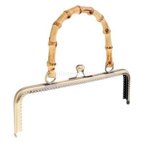 竹ハンドバッグ がま口口金 交換用 金属風 財布フレーム ロック DIY財布 2種選べ - ブロンズ, 25cm stk-shop