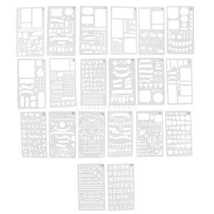 プラスチック製 ジャーナル ステンシル 設計用 日記 創造的ツール diyテンプレート ステンシル 全2セット選べ - 18x10.5cm(20枚)