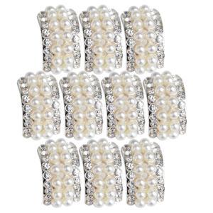 円弧形 ラインストーン DIYクラフト 髪装飾品 人工パール付き 結婚式 パーティー ファッション小物 10個入り |stk-shop