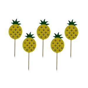 ケーキトッパー パイナップルの形 可愛い パーティーの装飾 結婚式 5個入り|stk-shop