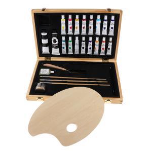 絵の具 油絵の具セット アクリル顔料 ブラシツールセット 木製ボックス 子供 初心者 美術 油絵入門