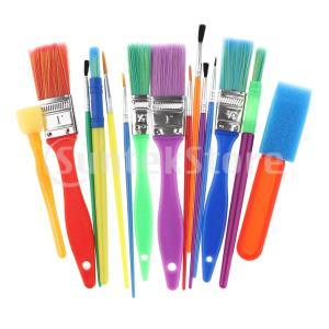 油絵筆 塗装ペン ペイントブラシ 水彩画 油絵 スポンジブラシセット 子供向け  贈り物  約15個...