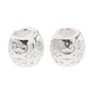 2Pcs 925 Sterling Silver Hollow Barrel Beads Loose...