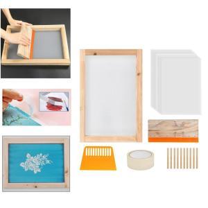 24個スクリーン印刷スターターキット.木材シルクスクリーン印刷フレームと110メッシュ.スクリーン印刷スキージ.インクジェット透明フィルムとマスクテ stk-shop