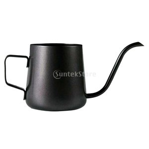 コーヒーポット 細口 ファイン口ポット クッキング用品 ステンレス製 ケトル 2サイズ選べ - ブラック, 240ミリリットル|stk-shop