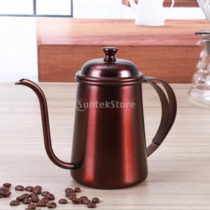 650ml ステンレス製 コーヒーポット ティーケトル グースネック 紅茶、モカに適用 5色選べ - レッド銅, 16.5×9.5cm|stk-shop