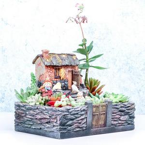 Lovoski ドールハウス 多肉植物 プランター かわいい田舎 盆栽 植木鉢 ガーデン飾り 置物 ギフト|stk-shop