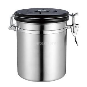 コーヒー 茶キャニスター 密閉ジャー 貯蔵ポット シール缶 家庭 食品容器 4色選べ - 銀, 11...