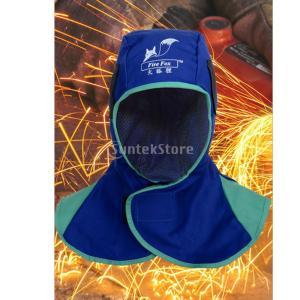 全2色 安全 溶接面 保護具 頭巾 溶接ネック 保護フード ヘルメット用溶接頭巾 溶接ヘッドカバー 難燃性 洗濯可能  - ブルー