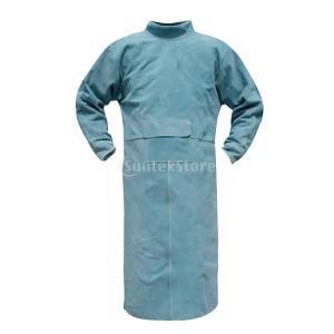 火の粉を防げ 溶接用 エプロン 服 カバー やけど防止 作業服 保護用 全4サイズ2色  - 120cm 青|stk-shop