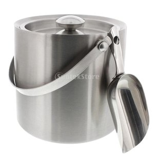 ステンレス鋼 二重壁 絶縁 断熱アイスペール 氷バケツ ワインクーラーと蓋 実用的 全2サイズ選ぶ ...