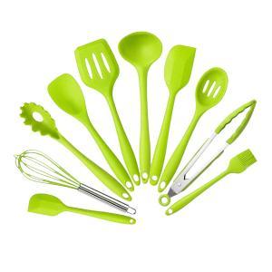 Lovoski キッチン用品 キッチンツール10点セット シリコン製 スパチュラ おたま ターナー 全3色選ぶ - 緑|stk-shop