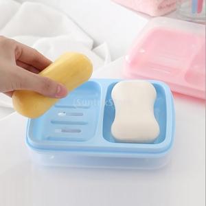 家庭用 防水ダブル 格子排水 石鹸ボックスカバー ブルー/グリーン/ピンク 全3色 - 青|stk-shop
