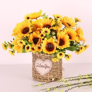 SONONIA 人工ヒマワリ ホーム ガーデン 装飾 花束 造花 飾り 結婚式 花ギフト 2束|stk-shop
