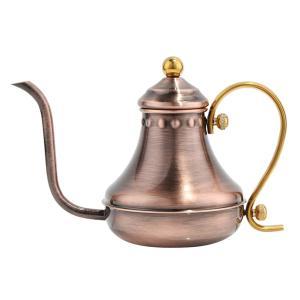 コーヒーポット 全3色 ケトル 細口 高級感 レトロ調 ステンレス製 大容量 断熱    - アンティーク銅 stk-shop