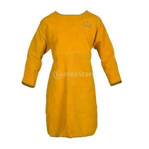高品質 牛革 溶接用ジャケット 2層 長い 作業コート 耐熱性 耐磨耗性 快適 保護服 イエロー|stk-shop