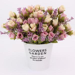 説明:  1束の人工ローズの花には5本の茎が含まれ、各茎に4本の頭が含まれています。 プラスチック布...