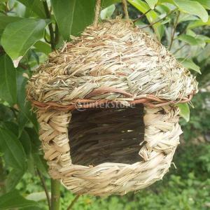 説明: 手作りのストローグラスの巣箱、クリエイティブな形、耐久性とインストールが簡単です。 環境にや...
